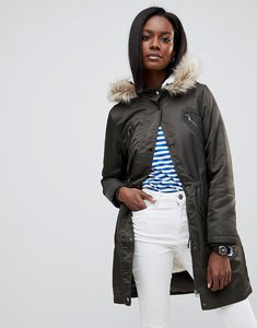 Read more about Oasis faux fur trim longline parka - khaki