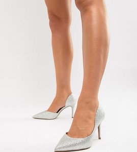 Read more about Asos design purley wide fit high heels - silver glitter