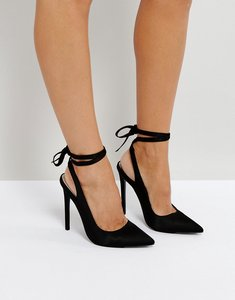 Read more about Asos pipe down pointed high heels - black