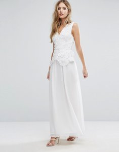 Read more about French connection manzoni lace maxi dress - summer white