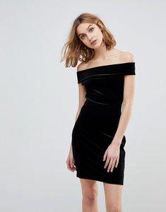 Read more about French connection lula stretch velvet off shoulder dress - black