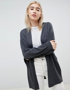Read more about Asos design eco cardigan in oversize fine knit - charcoal