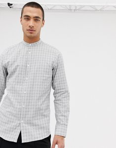 Read more about Selected homme shirt in slim fit grandad collar with check - white mini check top