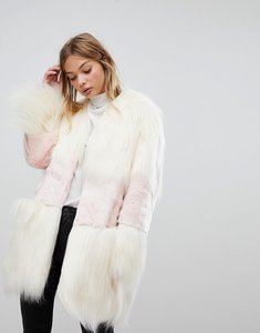Read more about French connection faux fur mix match coat - white rose