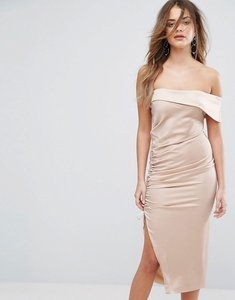 Read more about Lavish alice satin ruched one shoulder midi dress - mink