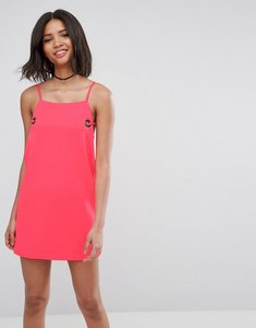 Read more about Asos shift dress with eyelet detail - neon pink