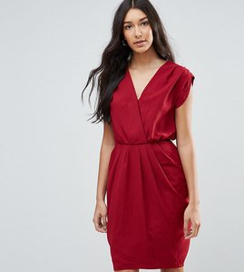 Read more about Y a s tall amber wrap front drape detail dress - red