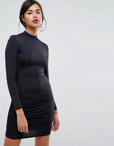Read more about Ivyrevel long sleeve high neck mini bodycon dress - black