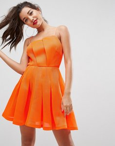 Read more about Asos neon bonded mesh fan front mini dress - orange