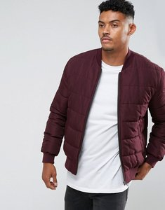 Read more about Asos quilted bomber jacket in burgundy - burgundy