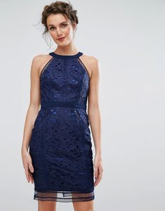 Read more about Chi chi london cutwork lace pencil dress - navy