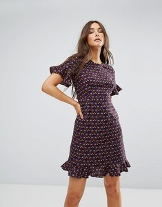Read more about Traffic people printed frill midi tea dress - wine