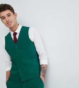 Read more about Asos design tall wedding skinny suit waistcoat in forest green - green