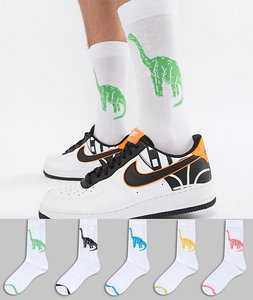 Read more about Asos design socks with dinosaur design 5 pack - multi