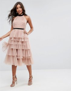 Read more about Asos premium high neck tiered tulle midi prom dress - mink
