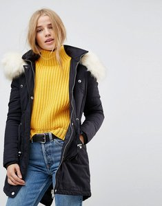 Read more about Brave soul coaster parka coat with contrast pu trims - navy