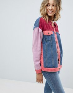Read more about Prettylittlething patchwork denim jacket - multi