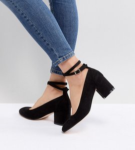 Read more about London rebel wide fit mid block heeled shoes - black