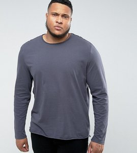 Read more about Another influence plus basic raw edge long sleeve top - navy