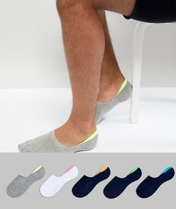 Read more about Asos invisible liner socks with fluro back tabs 5 pack - multi