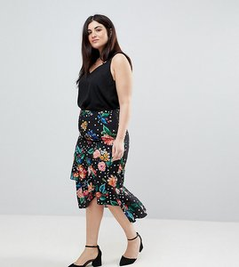 Read more about Asos curve midi skirt with ruffle detail in floral spot print - multi