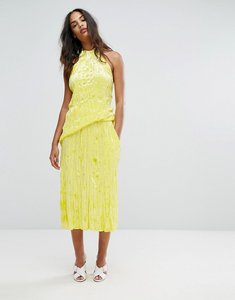 Read more about Warehouse premium crushed velvet midi skirt - yellow