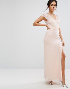 Read more about Elise ryan maxi dress with eyelash lace sleeve and v back - nude