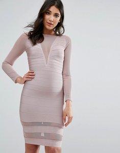 Read more about Missguided purple long sleeve mesh insert mini dress - mauve