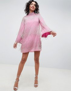 Read more about Asos edition flute sleeve fringe embellished mini dress - pink