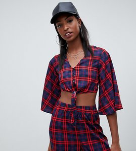 Read more about Noisy may tall tie front crop top in check print