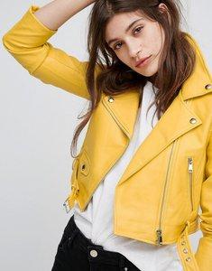 Read more about Bershka leather look biker jacket - yellow