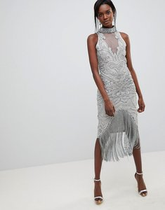 Read more about A star is born heavily embellished halter mini dress - grey