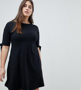 Read more about Asos curve skater dress with bow sleeve - black
