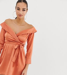 Read more about Missguided off shoulder midi dress in peach satin