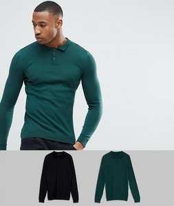 Read more about Asos 2 pack knitted muscle fit polo in green black save - multi