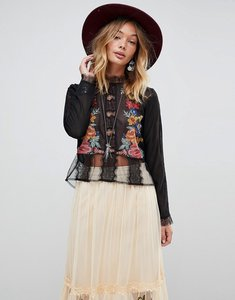Read more about Rd koko embroied lace victoriana blouse - black