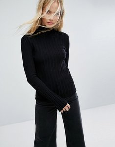 Read more about Weekday thick rib polo neck jumper - black