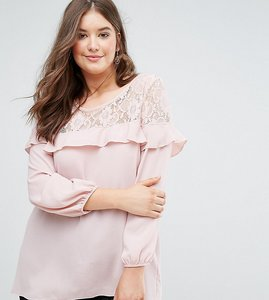 Read more about Koko lace and ruffle detail crepe blouse - pink
