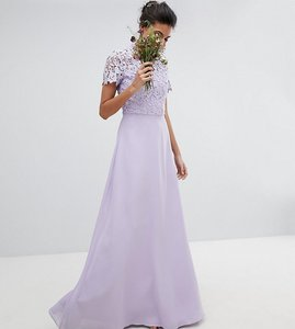 Read more about Chi chi london tall 2 in 1 high neck maxi dress with crochet lace - lavender grey
