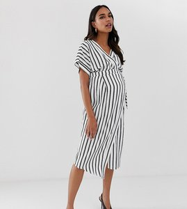 Read more about Asos design maternity wrap midi dress in stripe print