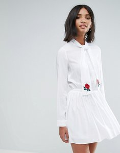 Read more about Unique21 pussy bow pleated dress with embroidery - white