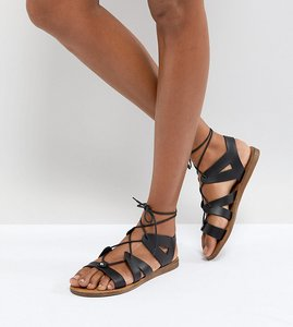 Read more about Office saffy black leather gladiator lace up sandals - black