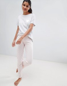 Read more about New look heart tee and jogger pyjama set - mid pink