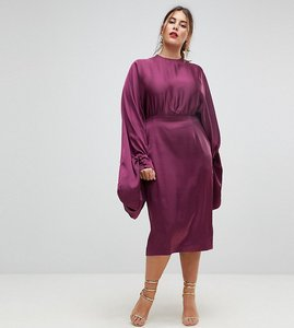 Read more about Asos curve extreme sleeve satin midi pencil dress - plum