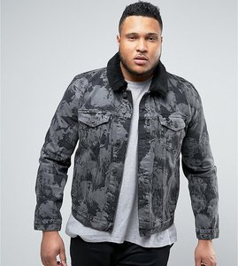 Read more about Asos plus denim jacket with bleach effect and borg collar in grey - black wash