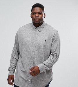Read more about Polo ralph lauren plus slim pique shirt buttondown in grey - dark vintage heather