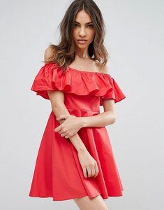 Read more about Qed london frill bardot dress - red