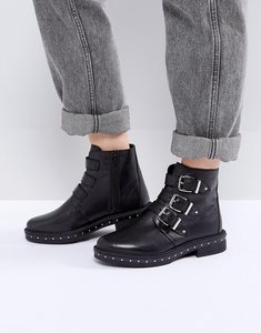 Read more about Steve madden matika studded leather buckle ankle boots - black