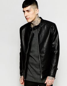 Read more about Only sons faux leather jacket - black