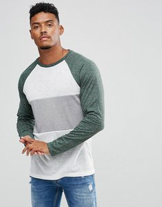 Read more about Asos long sleeve t-shirt in linen look fabric with contrast panel and sleeves - off white
